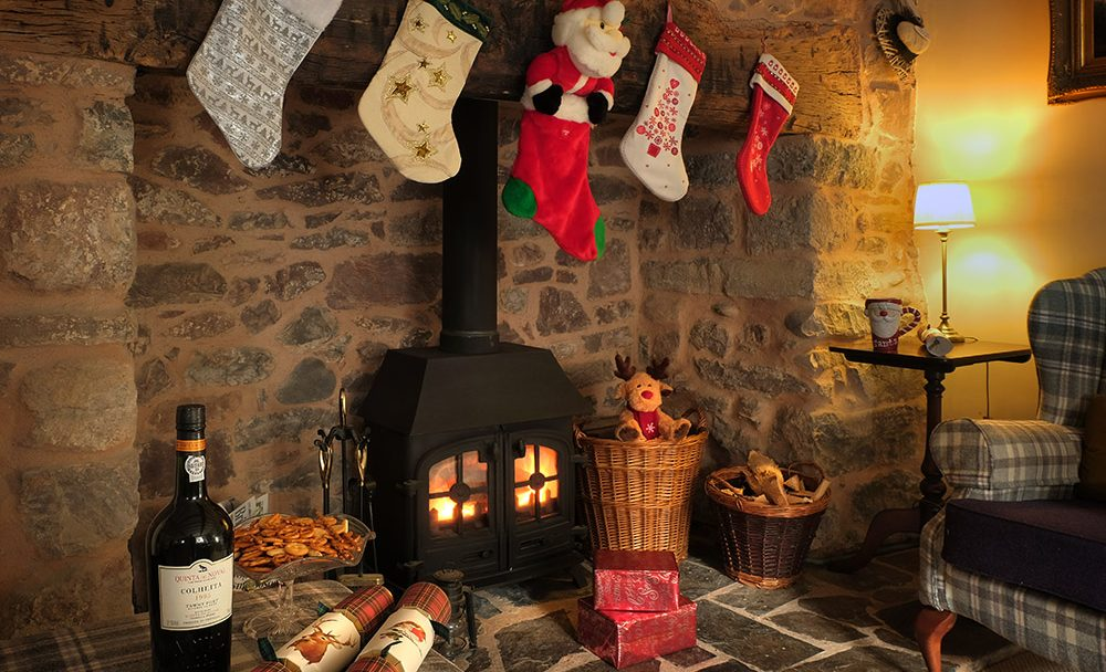 Christmas fireplace at the old sweet shop