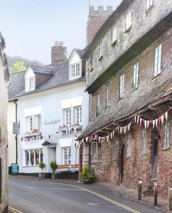 Dunster village with bunting