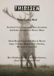 Three course menu