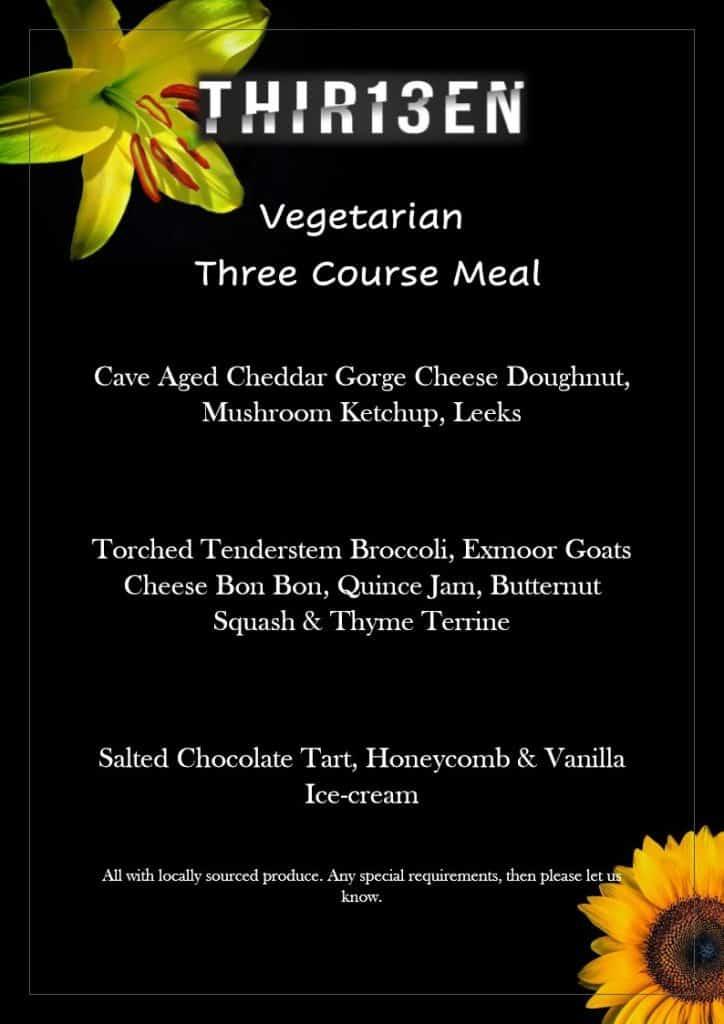 Vegetarian Three Course Menu